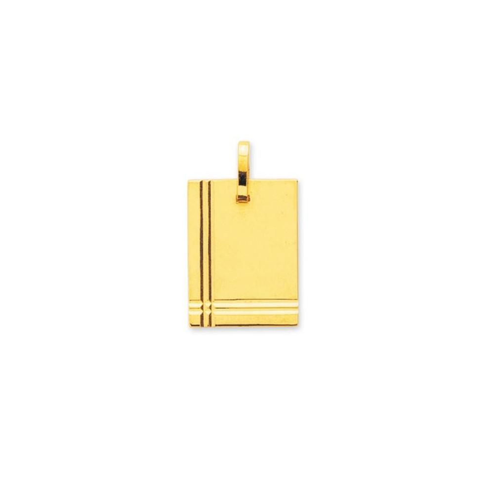 Pendentif plaque rectangulaire avec détail en Or jaune 375/00