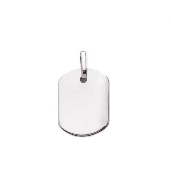 Pendentif plaque GI en Or blanc 750/00