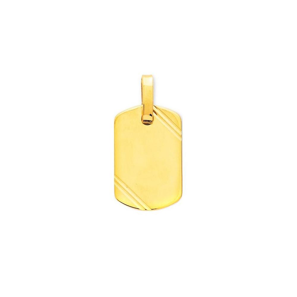 Pendentif plaque GI avec détail en Or jaune 750/00