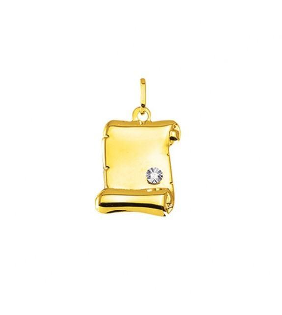 Pendentif parchemin en Or jaune 375/00 avec diamant