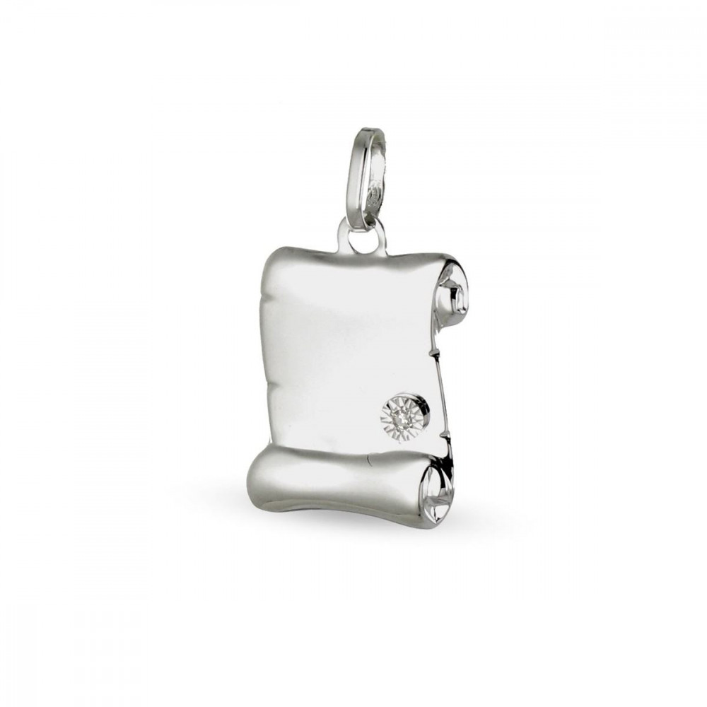 Pendentif parchemin Or blanc 375/00 serti diamant