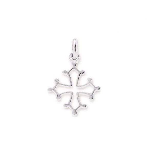 Pendentif croix Occitane en Or blanc 375/00