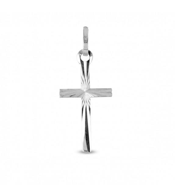 Pendentif croix ciselée en Or blanc 375/00