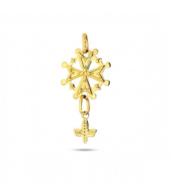 Pendentif croix huguenote Or jaune 375/00