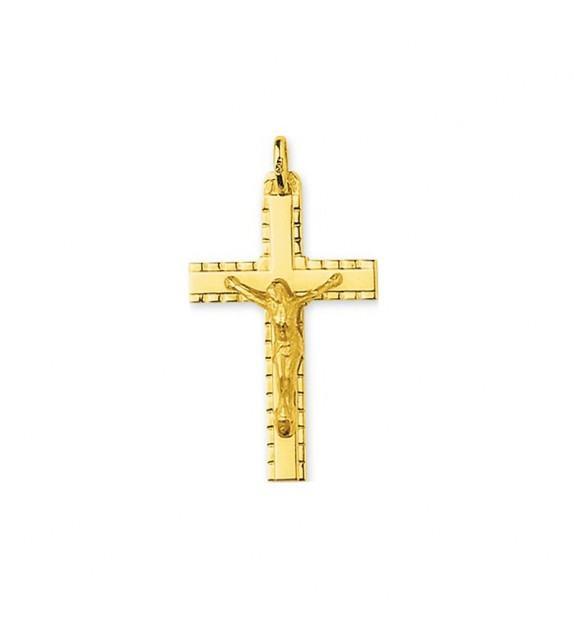 Pendentif croix avec Christ en Or jaune 750/00