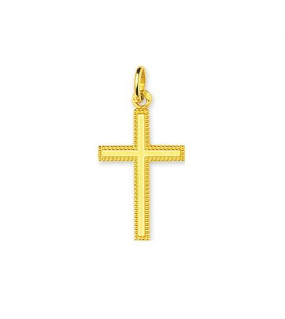 Pendentif croix contour ciselé en Or jaune 750/00