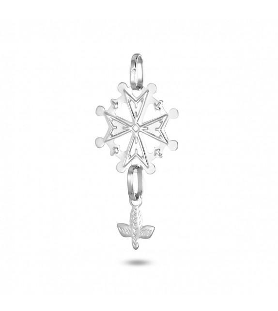 Pendentif croix huguenote Or blanc 750/00