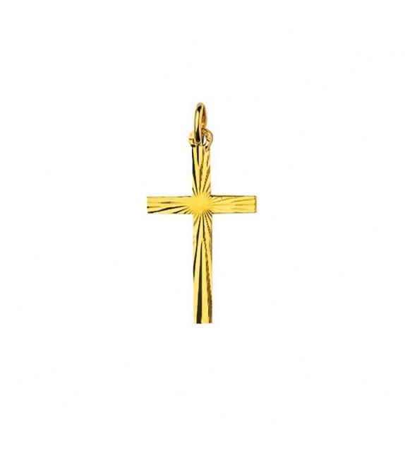 Pendentif croix ciselée en plaqué Or