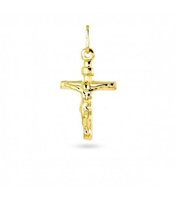 Pendentif croix avec Christ en plaqué Or jaune