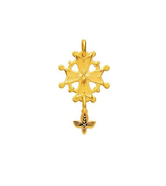 Pendentif croix huguenotte en plaqué Or
