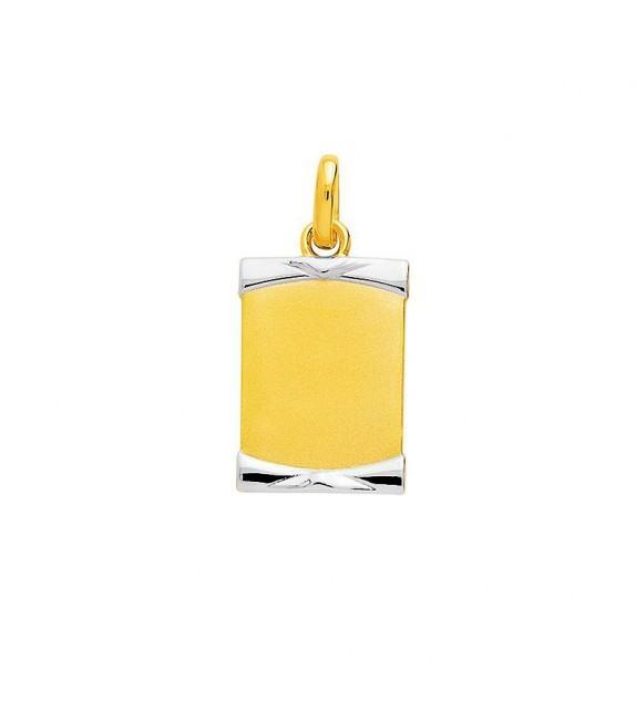 Pendentif plaque rectangulaire en plaqué Or bicolore