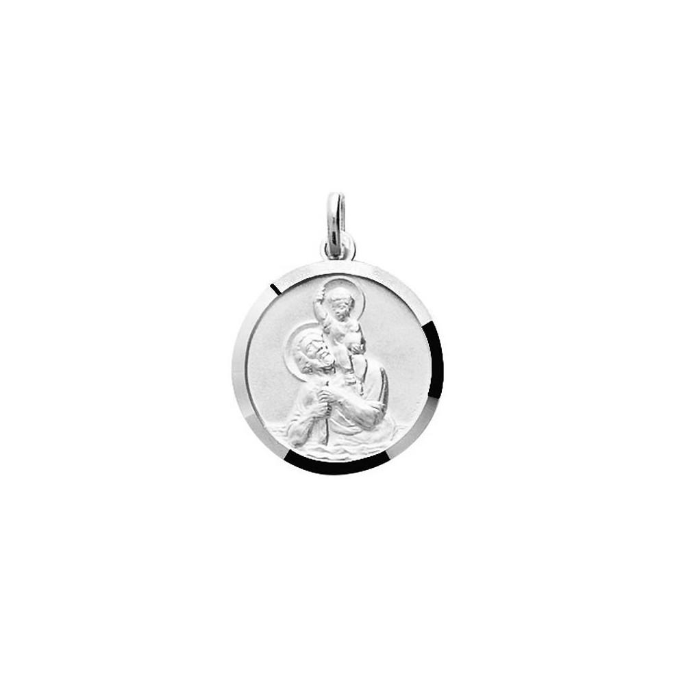 Médaille ronde Saint Christophe en Argent 925/00