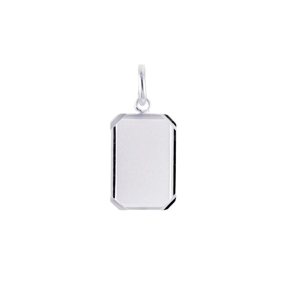Pendentif plaque rectangulaire avec contour en Argent 925/00