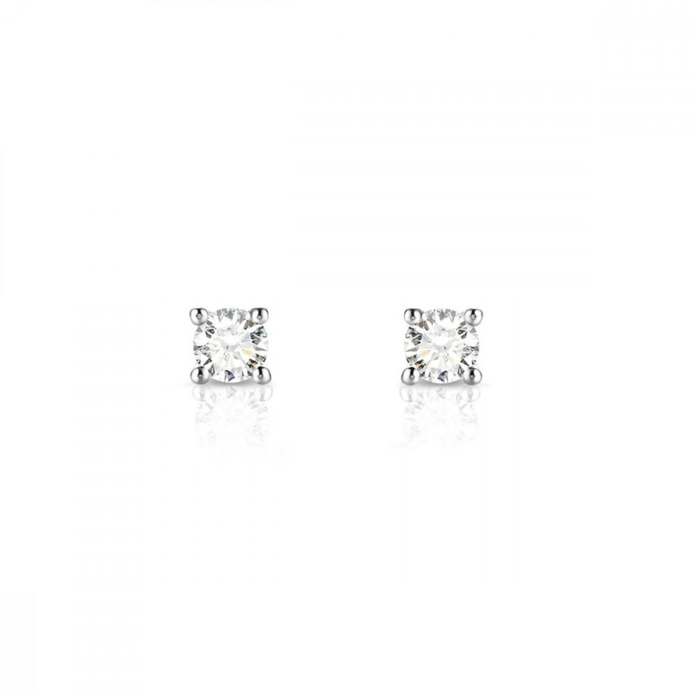 Boucles d'oreilles puces Diamants et Or blanc 375/00