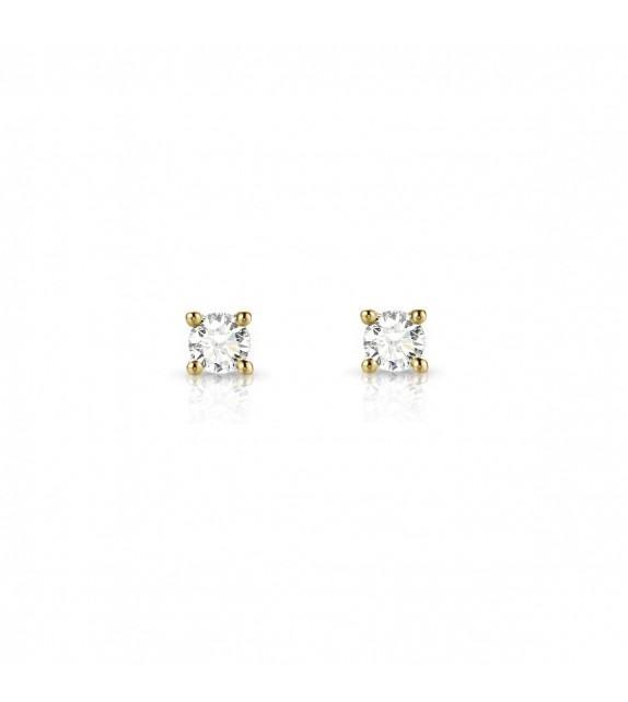 Boucles d'oreilles puces Diamants et Or jaune 375/00
