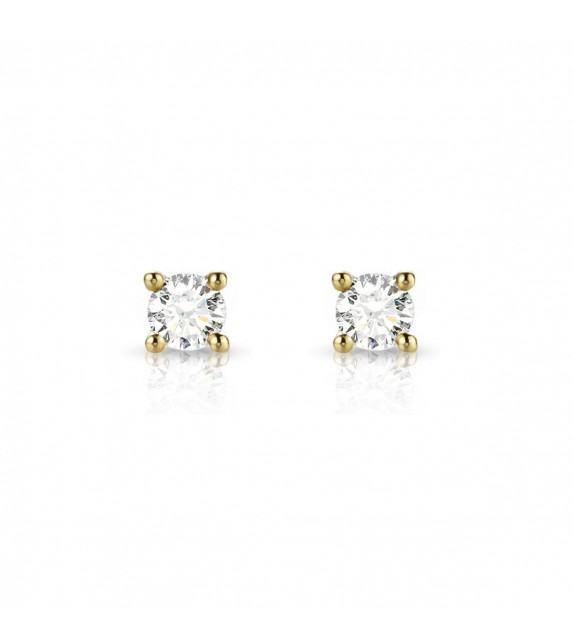 Boucles d'oreilles puces Diamants et Or jaune 750/00