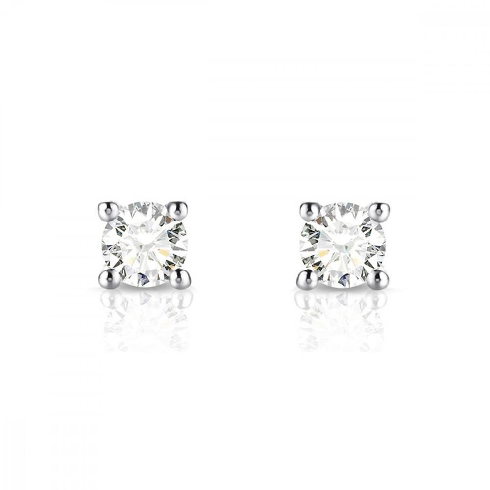 Boucles d'oreilles puces Diamants et Or blanc 750/00