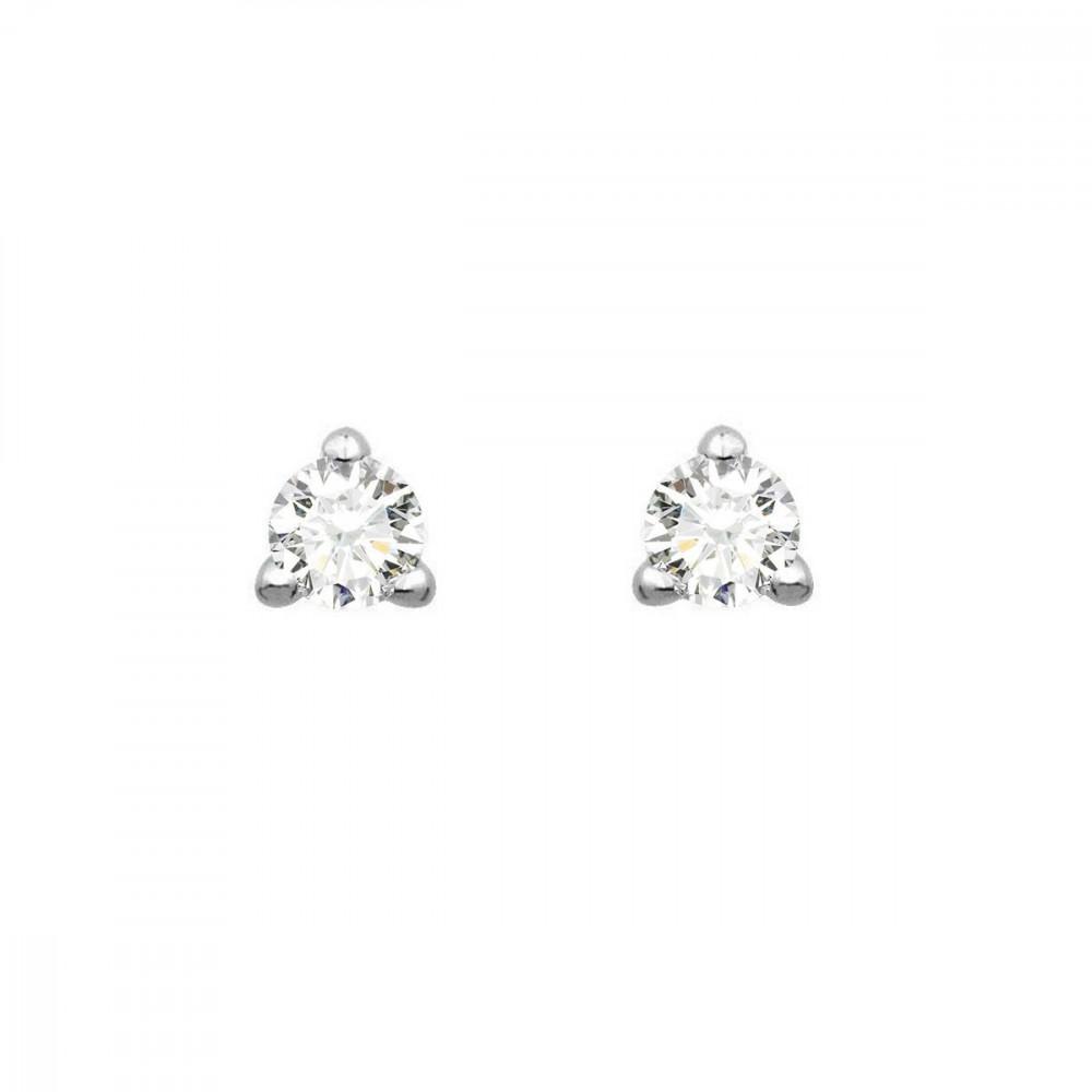 Boucles d'oreilles puces 3 griffes diamants et Or blanc 750/00