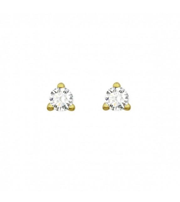 Boucles d'oreilles puces 3 griffes diamants Or jaune 750/00