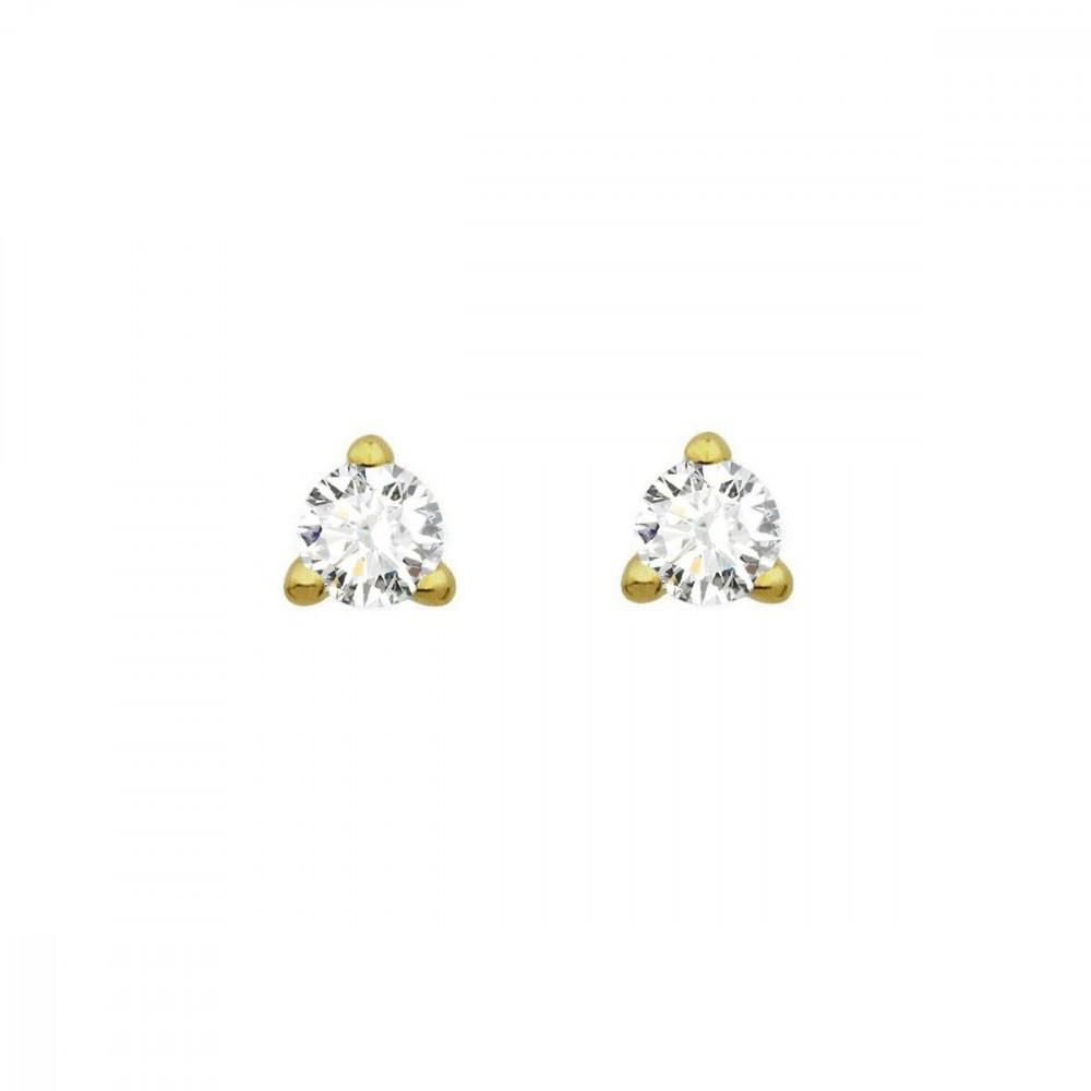 Boucles d'oreilles puces 3 griffes diamants Or jaune 750/00