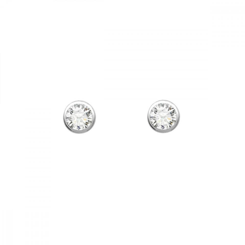 Boucles d'oreilles puces rondes diamants et Or blanc 375/00