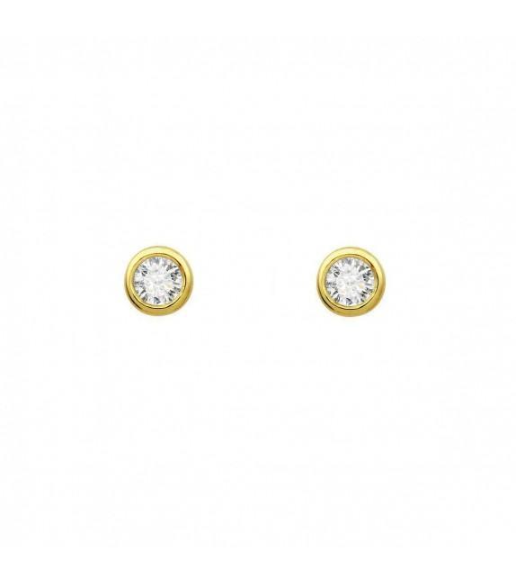 Boucles d'oreilles puces rondes diamants et Or jaune 375/00