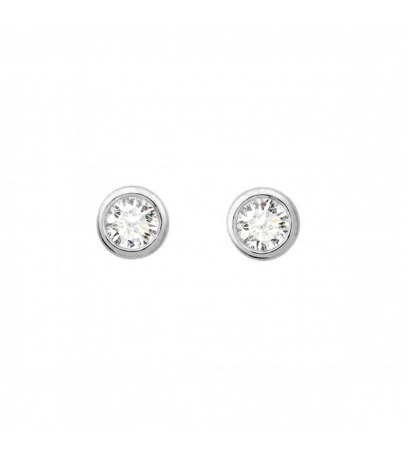 Boucles d'oreilles puces rondes diamants et Or blanc 750/00