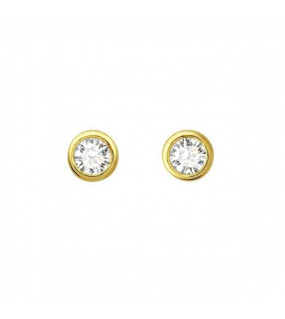 Boucles d'oreilles puces rondes diamants et Or jaune 750/00