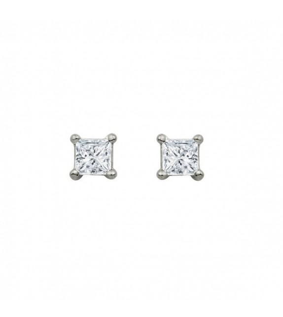 Boucles d'oreilles puces carrées diamants et Or blanc 750/00