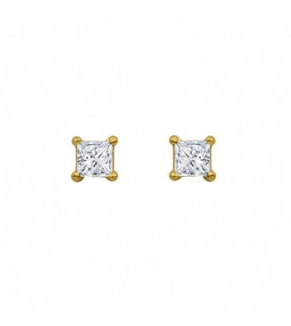 Boucles d'oreilles puces carrées diamants et Or jaune 750/00