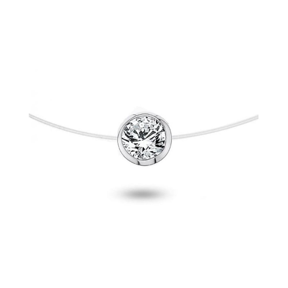 collier diamant solitaire nylon