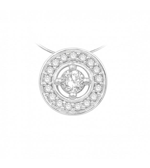 Collier disque diamants et Or blanc 375/00