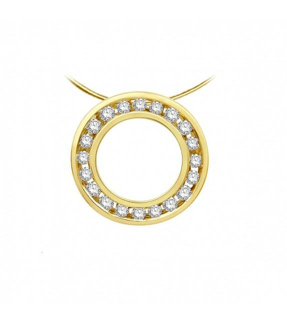 Collier cible diamants et Or jaune 375/00