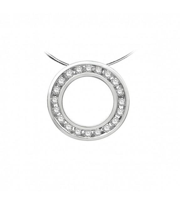 Collier cible diamants et Or blanc 375/00