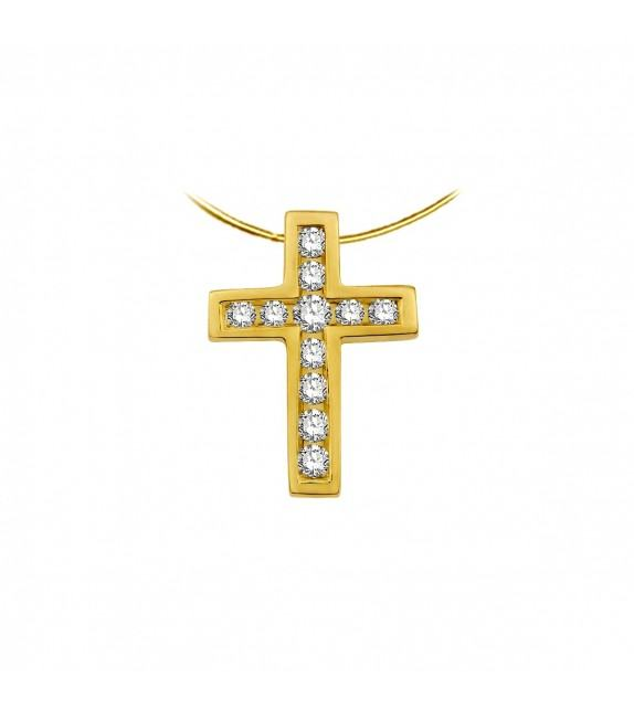 Collier croix en Or jaune 375/00 et Diamants