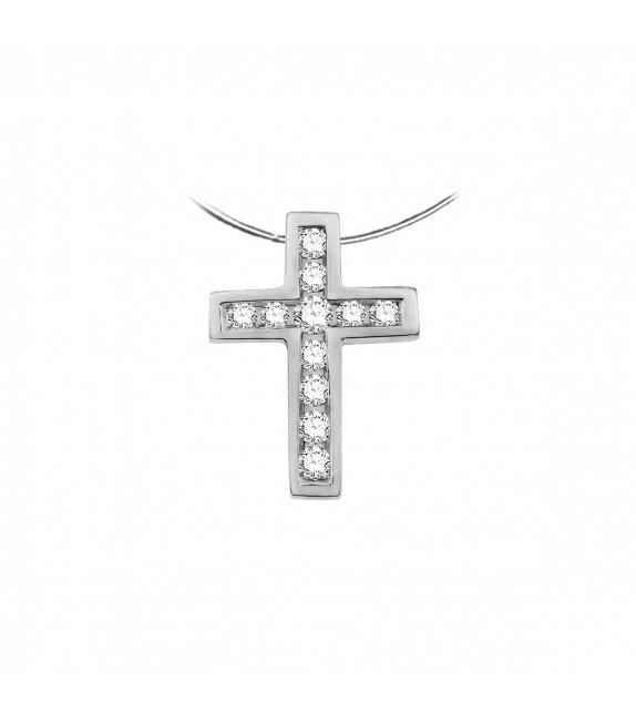 Collier croix en Or blanc 375/00 et Diamants