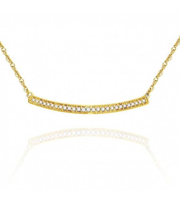 Collier barrette en Or jaune 375/00 et Diamants