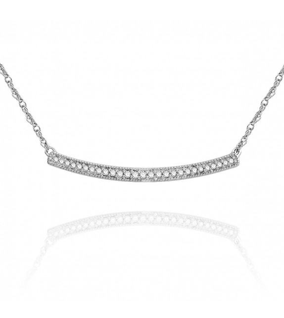 Collier barrette en Or blanc 375/00 et Diamants