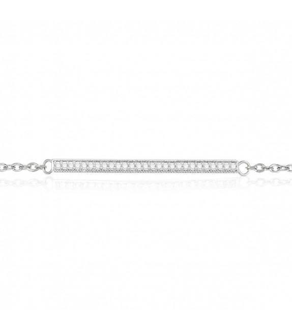Bracelet barrette en Or blanc 375/00 et Diamants