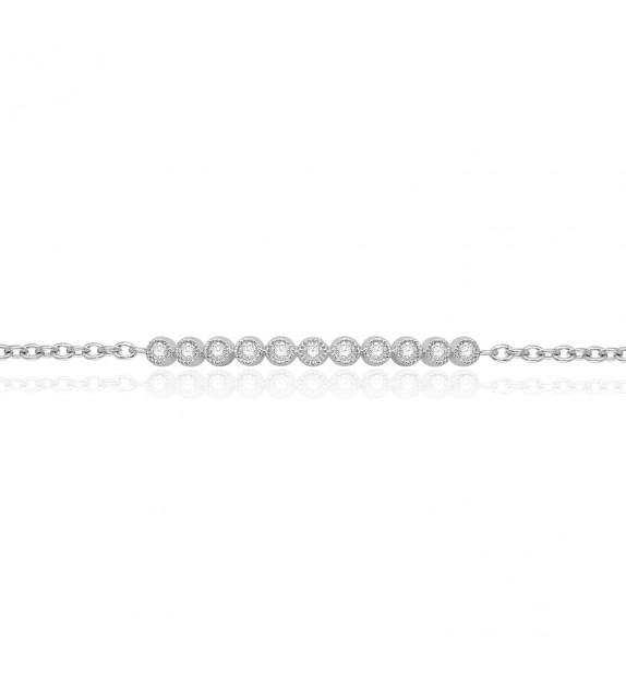 Bracelet barrette en Or blanc 375/00 et Diamants