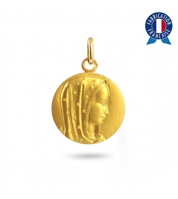 Médaille Vierge étoilée en Or jaune 375/00