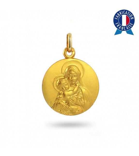Médaille Vierge à l'enfant en Or jaune 375/00