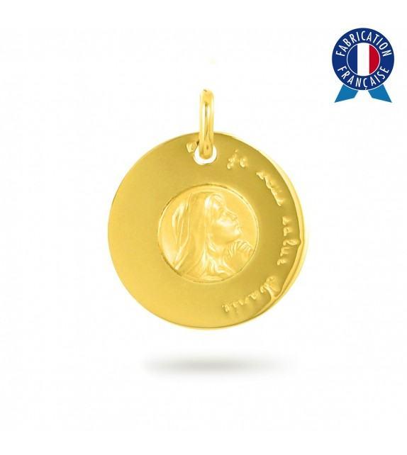 """Médaille \""""Je vous salue Marie\"""" en Or jaune 375/00"""