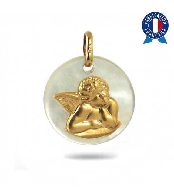 Médaille Ange en nacre et Or jaune 375/00