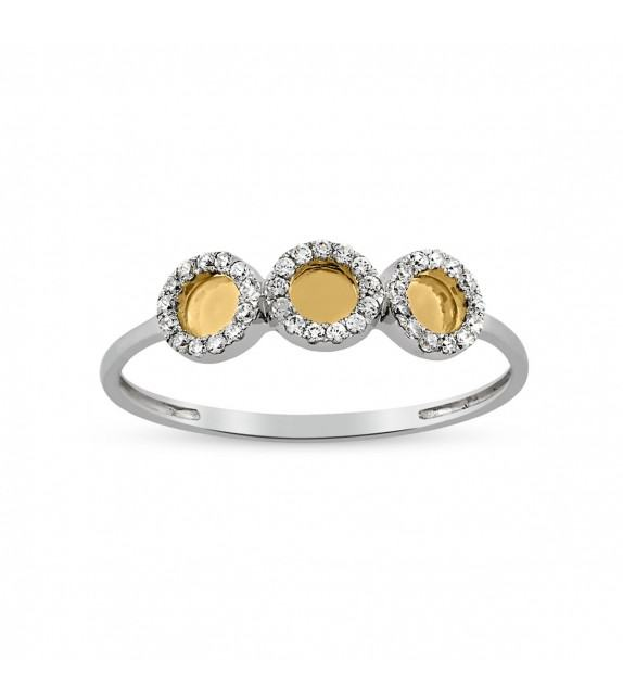 Bague en Or blanc et jaune 375/00, sertie de diamants