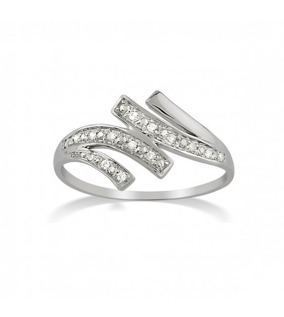 Bague en Or blanc 375/00 et diamants