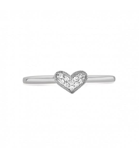 Bague coeur en Or blanc 375/00 et diamants