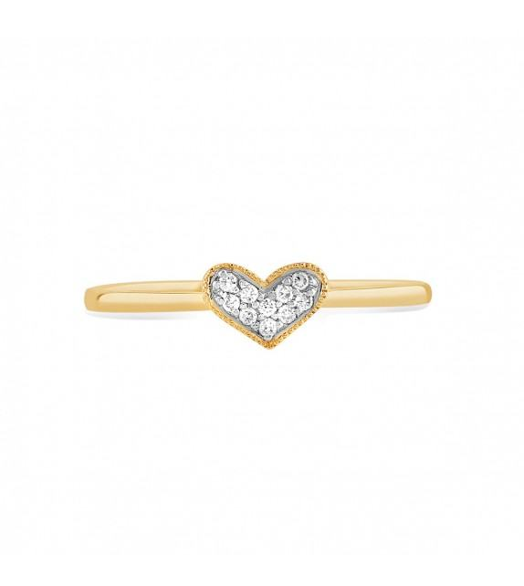 Bague coeur en Or jaune et blanc 375/00 et diamants