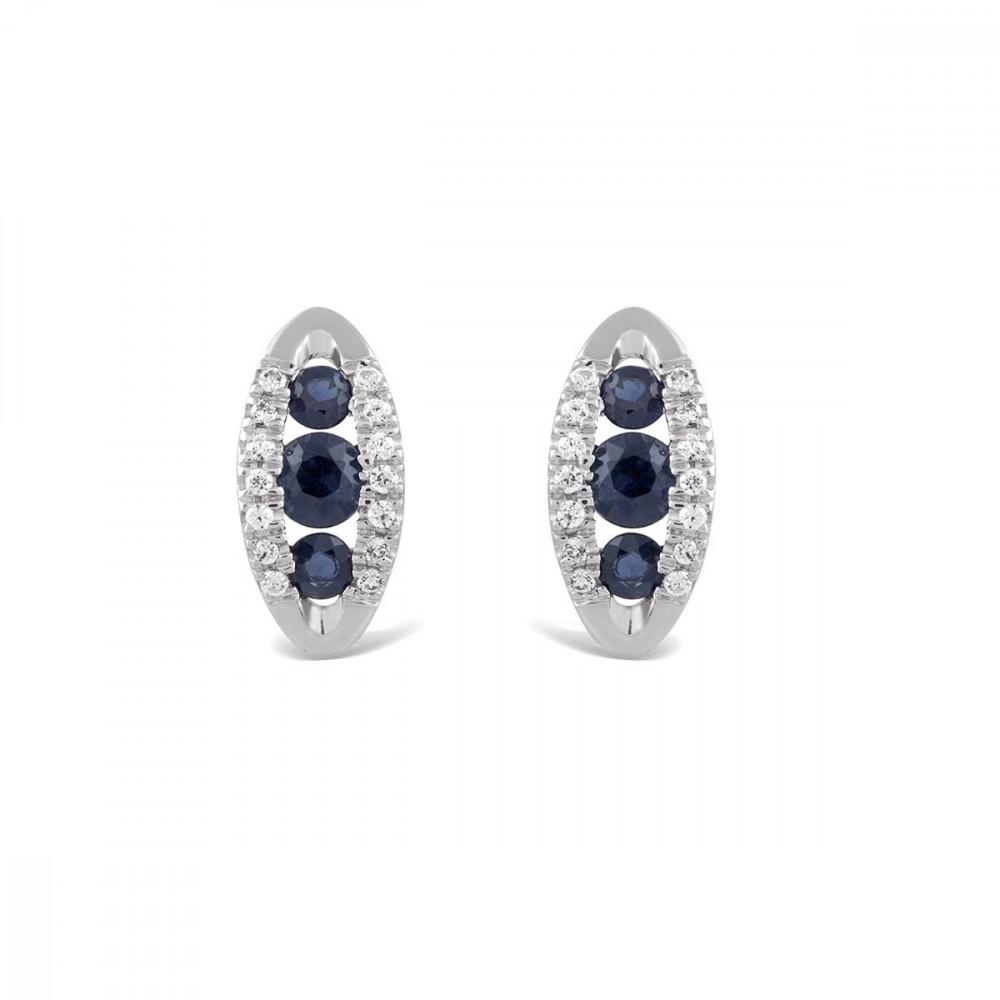 Boucle d'oreilles trilogie en Or blanc 375/00, diamants et saphirs