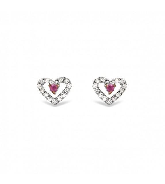Boucles d'oreilles cœur en Or blanc 375/00, diamants et rubis